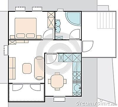 plan d 39 architecture d 39 appartement images stock image 14974454. Black Bedroom Furniture Sets. Home Design Ideas