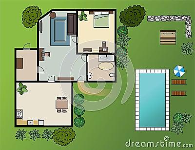 plan de maison de campagne avec des meubles illustration de vecteur image 45546700. Black Bedroom Furniture Sets. Home Design Ideas