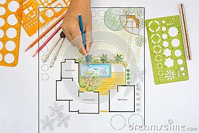 gallery of plan del patio trasero del diseo del arquitecto paisajista para el chalet with diseo de chalet