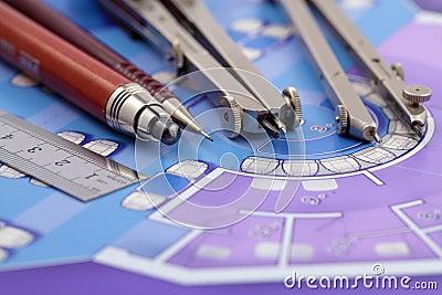 Plan Et Outils D 39 Architecture Photographie Stock Libre De