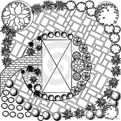 Plan of garden black and white