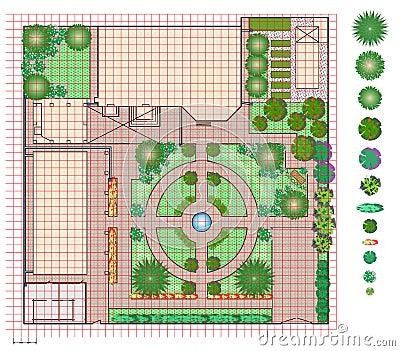 Plan Of Garden Land Stock Vector Image 66786588