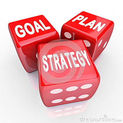 Free Plan Goal Strategy Words On Three Red Dice Royalty Free Stock Photography - 29539427