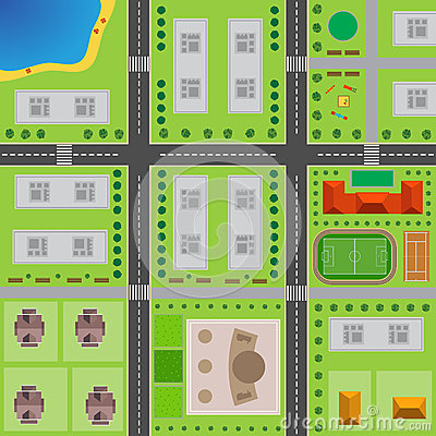 Free Plan Of City. Top View Of The City Royalty Free Stock Image - 90263876