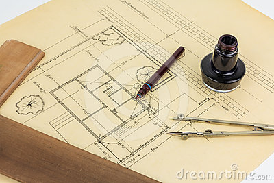 Plan, pen, ink, compass and ruler