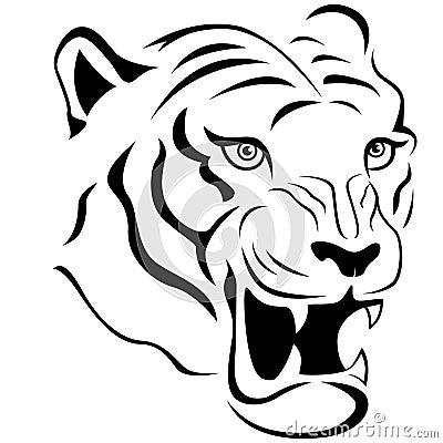Plan rapproch agressif de t te de tigre illustration de - Image tete de tigre ...