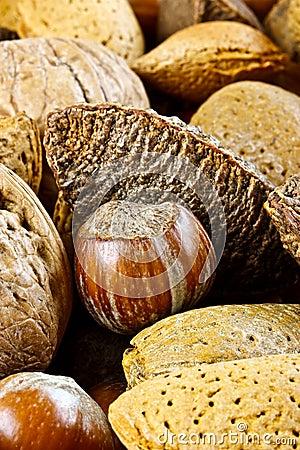 Plan rapproché des noix mélangées
