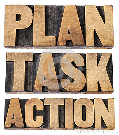 Plan, task, action word in woot type