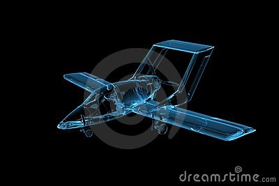 Plane 3D rendered xray blue