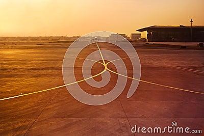 Plane in airport runway
