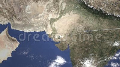 Route of a commercial plane flying to Karachi, Pakistan on the map, 3D  animation