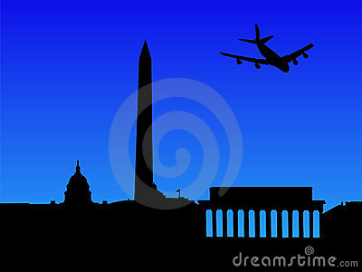 Plane arriving in Washington DC