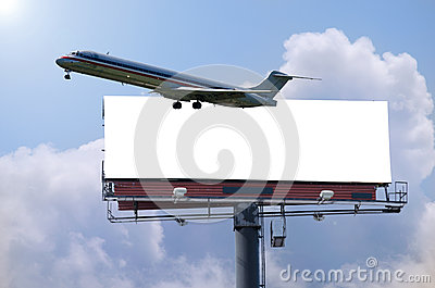 Plane with billboard travel concept