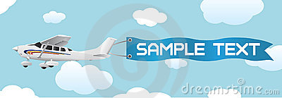 Plane with blank banner vector