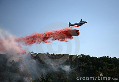 Plane Drops Fire Retardant Editorial Image