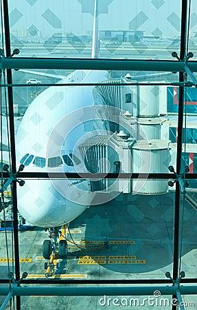 Plane in Dubai International Airport Editorial Stock Photo