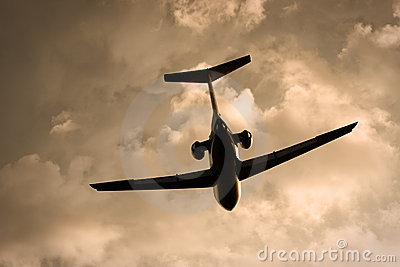 Plane in the evening sky