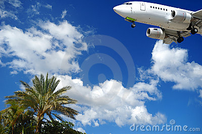 Plane and exotic destination