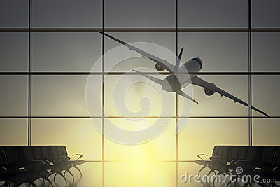 Plane flies away from airport