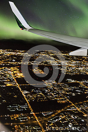 Free Plane Flight During Northern Lights Royalty Free Stock Photography - 35368897