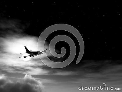 Plane In Flight At Night 11
