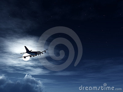 Plane In Flight At Night
