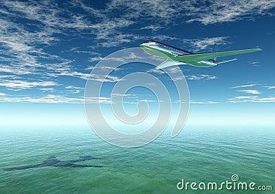 Plane flying into a tourist destination