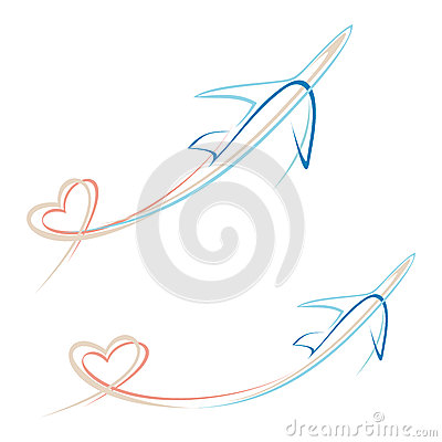 Plane with heart shape trace