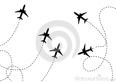 Plane icon vector flat illustration, pictogram isolated on white. V Vector Illustration