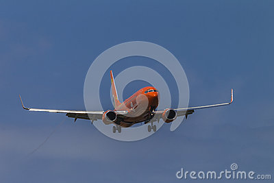 Jet Passenger Plane Approach Editorial Stock Image
