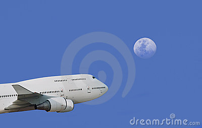 Plane & moon in depth of  sky