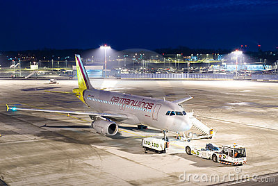 Plane at night Editorial Image