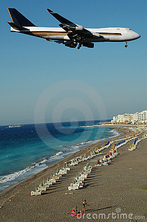 Free Plane Over Beach Stock Images - 2419694