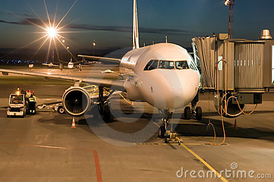 Plane Night on Stock Images  Plane Parked At The Airport At Night  Image  5771964