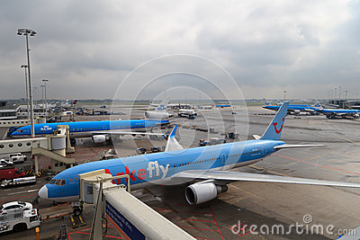 Plane at Schiphol Editorial Photo