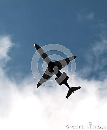 A plane in a sky