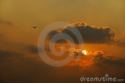 Plane with sunrise background