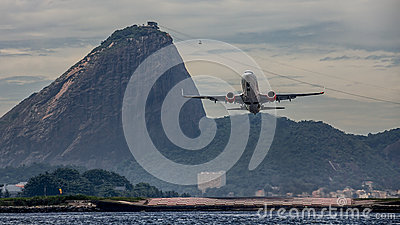 Plane Take-off in Rio with Sugarloaf