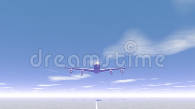 Plane taking off - 3D render. Frontview of a plane taking off by day stock illustration