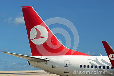 Plane of Turkish airlines. Blue sky Editorial Image