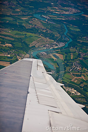 Free Plane Turning Over French Country Side And River Royalty Free Stock Photo - 14508085