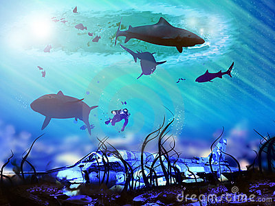 Plane under the sea