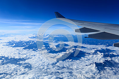 Plane wing and the himalayas