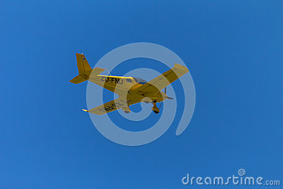 Plane Yellow Flying Private Editorial Photo