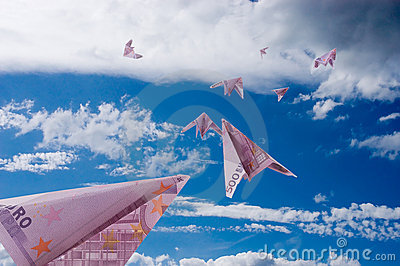 Planes from 500 Euro banknotes fly away