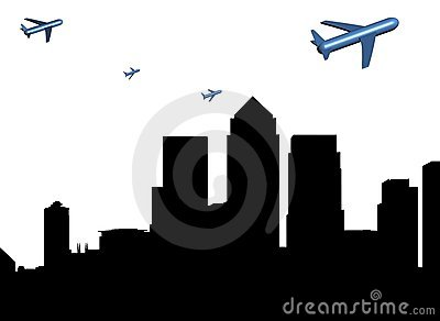 Planes departing Docklands