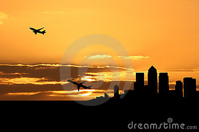 Planes departing docklands