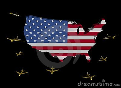 Planes departing USA map flag