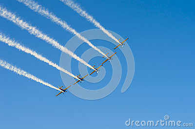 Planes in formation on sky Editorial Photography