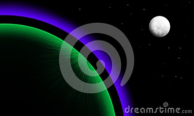 Planet with aurora and moon